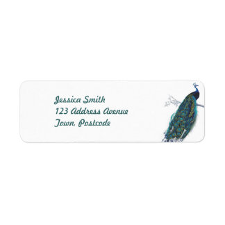 Blue Peacock with beautiful tail feathers Return Address Label