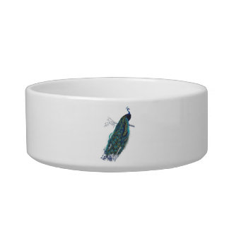 Blue Peacock with beautiful tail feathers Cat Bowl