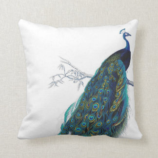 Blue Peacock with beautiful tail feathers Throw Pillow