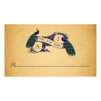 Blue Peacocks Vintage Wedding Place Card Double-Sided Standard Business Cards (Pack Of 100)