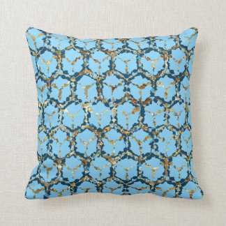 """Blue/Pearl"" Abstract Reversible Throw Pillow"