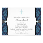 Blue Pearl Cross Blue Black Damask Christening Personalized Invite