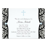 Blue Pearl Cross Blue Black Damask Christening Personalized Announcements