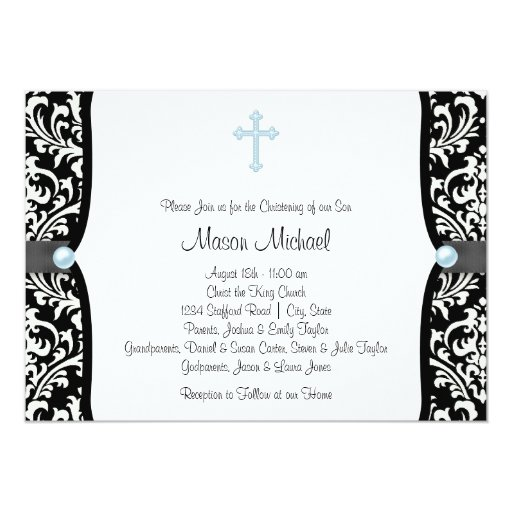 Blue Pearl Cross Blue Black Damask Christening 5x7 Paper Invitation Card