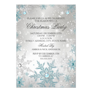 Blue Pearl Crystal Snowflake Christmas Party Card at Zazzle