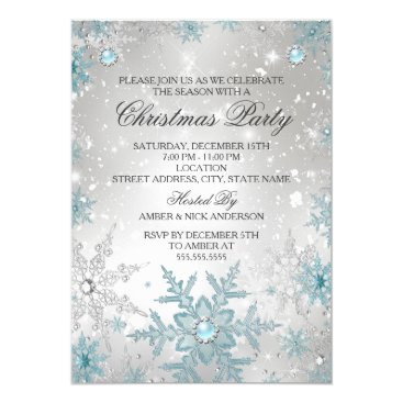 Christmas Themed Blue Pearl Crystal Snowflake Christmas Party Card