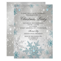 Blue Pearl Crystal Snowflake Christmas Party Invitation