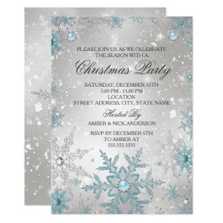 Blue Pearl Crystal Snowflake Christmas Party Invitation