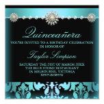 Blue Pearl & Damask Quinceañera Birthday invite