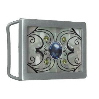 Blue Pearl Design Belt Buckle