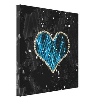 Blue Pearl Heart Gallery Wrap Canvas