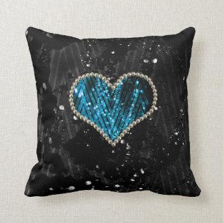 Blue Pearl Heart Pillows