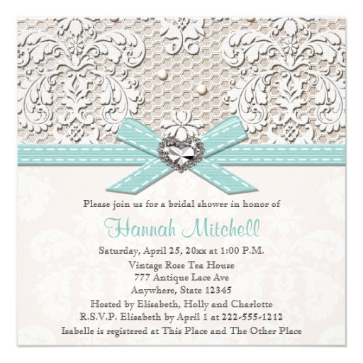 blue linen and lace bridal shower invitations