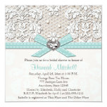 Blue Pearl Lace Diamond Bridal Shower Invitations