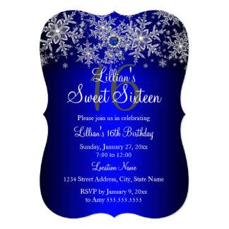 Blue Pearl Silver Snowflake Sweet 16 5x7 Paper Invitation Card