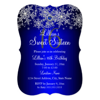 Blue Pearl Silver Snowflake Sweet 16 Card