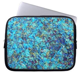 Blue Pebble Pool Ripple Laptop Travel Sleeve