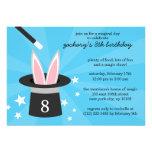 Blue Peek-a-Boo Rabbit Custom Magic Birthday Party Custom Invitations