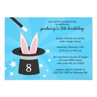 "Blue Peek-a-Boo Rabbit Custom Magic Birthday Party 5"" X 7"" Invitation Card"