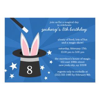 Blue Peek-a-Boo Rabbit Custom Magic Birthday Party Custom Invite
