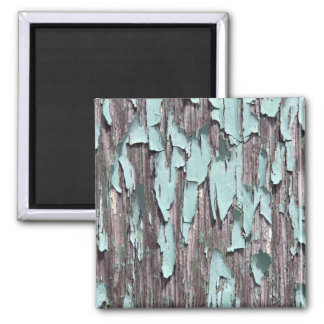 Blue peeling paint on wood 2 inch square magnet