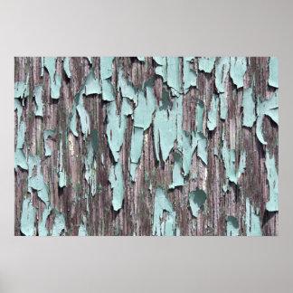 Blue peeling paint on wood poster