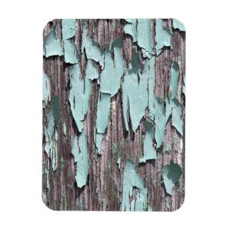 Blue peeling paint on wood rectangular photo magnet