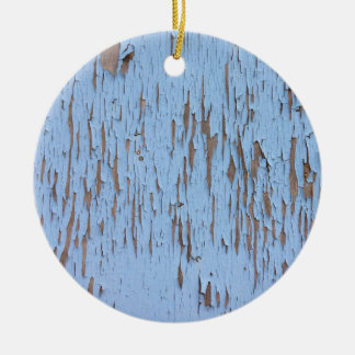 Blue Peeling Paint Double-Sided Ceramic Round Christmas Ornament