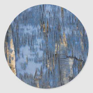 Blue Peeling Paint Texture Classic Round Sticker