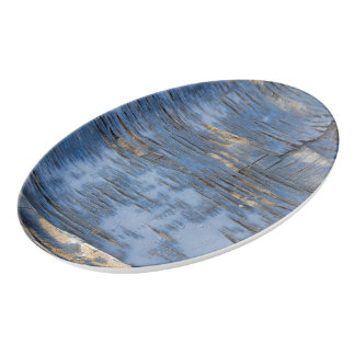 Blue Peeling Paint Texture Porcelain Serving Platter