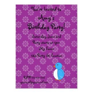 Blue penguin birthday invitation