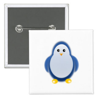 Blue penguin clipart pinback button