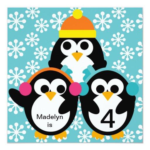 "Blue Penguin Customized Birthday Invitation 5.25"" Square Invitation Card"