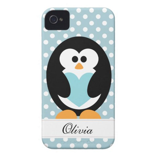 Blue Penguin Love iPhone 4 Cover