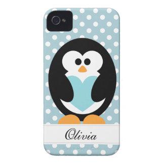 Blue Penguin Love iPhone 4 Case-Mate Case