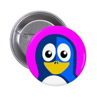 Blue Penguin on Purple Button