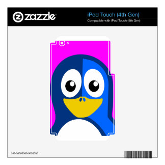 Blue Penguin on Purple Skin For iPod Touch 4G