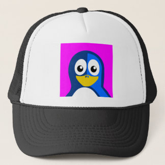 Blue Penguin on Purple Trucker Hat