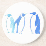 "Blue Penguin Trio Sandstone Coaster<br><div class=""desc"">Penguins are awesome,  but they are 150% more awesome when they have more color options.  These three penguins are cerulean,  cobalt,  and ultramarine blue.  They were brush painted in watercolor.</div>"
