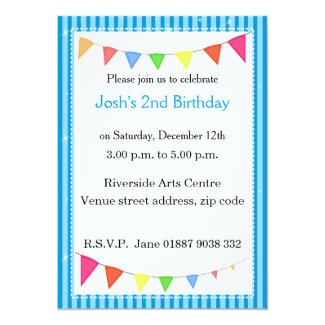 "Blue Pennant Party Invitation 5"" X 7"" Invitation Card"
