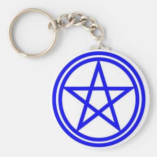 Blue pentacle keyring keychain