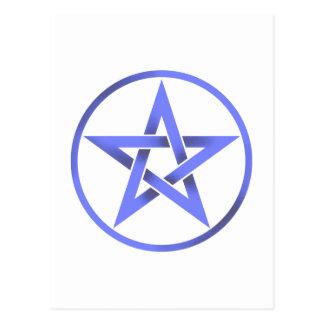 blue pentacle postcard