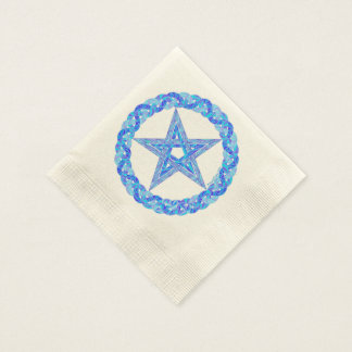 Blue Pentagram Pagan Wicca Mystic Party Napkin