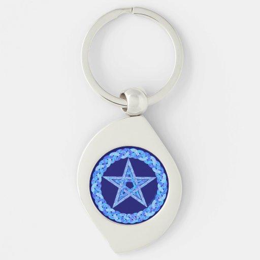 Blue Pentagram Pagan Wicca New Age Key Ring Key Chains
