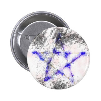 Blue pentagram products pinback button