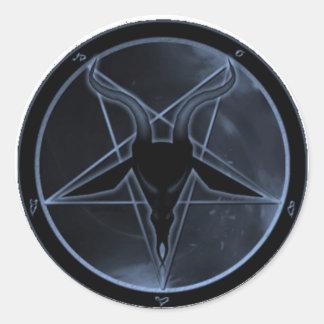 Blue Pentagram Round Stickers