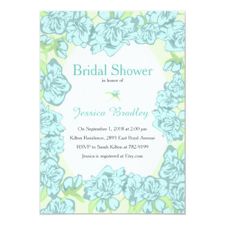 Blue Peony Bridal Shower Invitations 13 Cm X 18 Cm Invitation Card