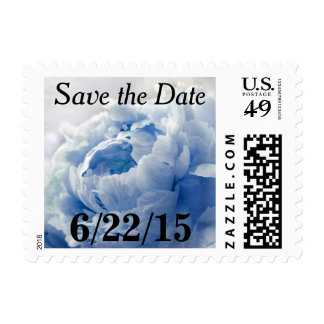 Blue Peony Save The Date Postage Stamps