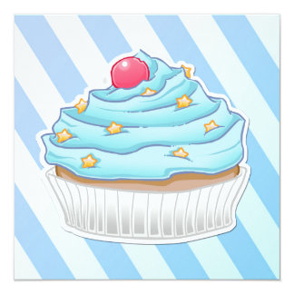 Blue peppermint striped cupcake card