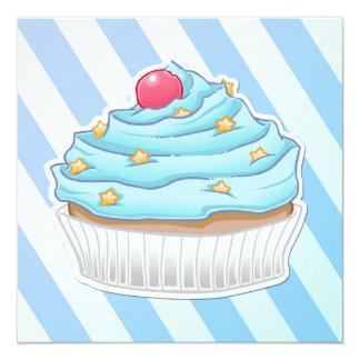"Blue peppermint striped cupcake 5.25"" square invitation card"